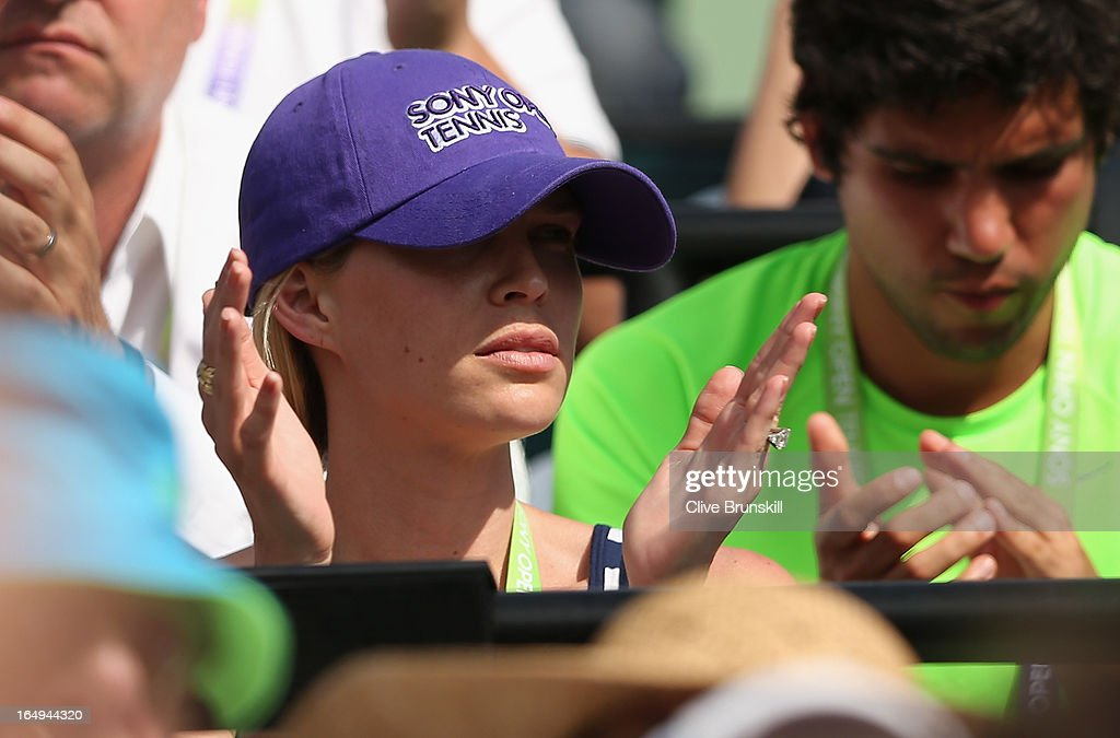 Sara Foster wife of Tommy Haas of Germany watches him play against David Ferrer of Spain during their semi final match at the Sony Open at Crandon Park Tennis Center on March 29, 2013 in Key Biscayne, Florida.