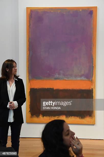 Sara Friedlander PostWar and Contemporary Art expert in front of Mark Rothko's 'Untitled' painted in 1952 on display May 2 2014 during a preview of...