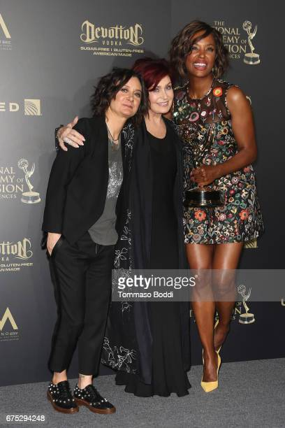 Sara Gilbert Sharon Osbourne and Aisha Tyler pose in the Press Room during the 44th Annual Daytime Emmy Awards at Pasadena Civic Auditorium on April...