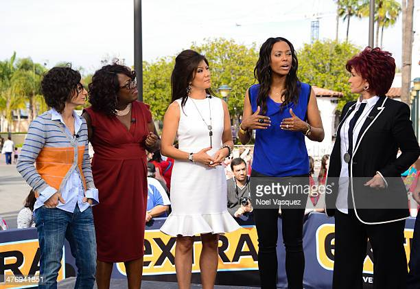 Sara Gilbert Sheryl Underwood Julie Chen Aisha Tyler and Sharon Osbourne visit 'Extra' at Universal Studios Hollywood on March 5 2014 in Universal...