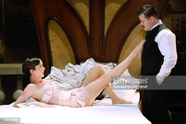 Sara Giraudeau and JeanPaul Bordes perform in 'Zelda Scott' RunThrough at La Bruyere Theater In Paris at Theatre La Bruyere on September 3 2013 in...