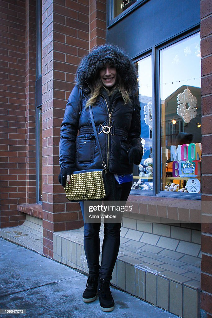 Sara Greulich, Publicist from Los Angeles, wearing Juicy Couture coat, vintage gloves, Zara pants, vintage bag and Steve Madden boots on January 17, 2013 on the streets of Park City, Utah.