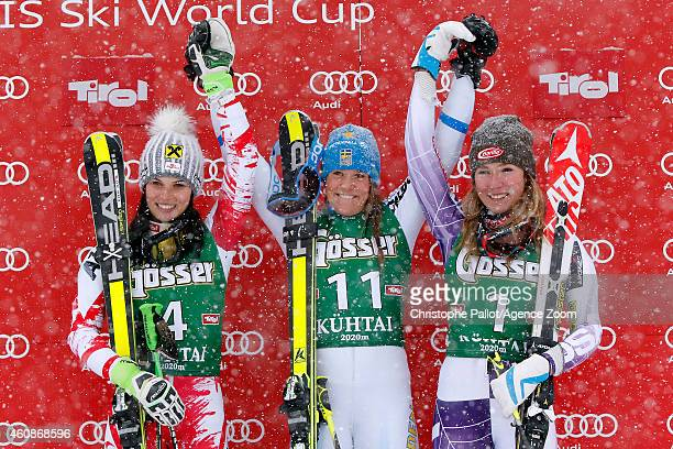 Sara Hector of Sweden takes 1st place Anna Fenninger of Austria takes 2nd place Mikaela Shiffrin of the USA takes 3rd place during the Audi FIS...