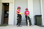 Sara Hungerford of the Sixers and Alyssa Healy of the Sixers prepare to open the batting during the Women's Big Bash League match between the Sydney...