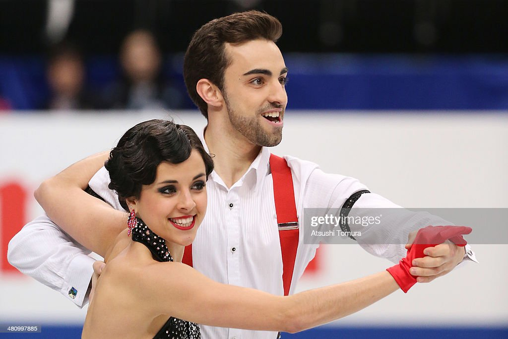 Sara Hurtado and Adria Diaz of Spain compete in the Ice Dance Short Dance during ISU World Figure Skating Championships at Saitama Super Arena on March 28, 2014 in Saitama, Japan.