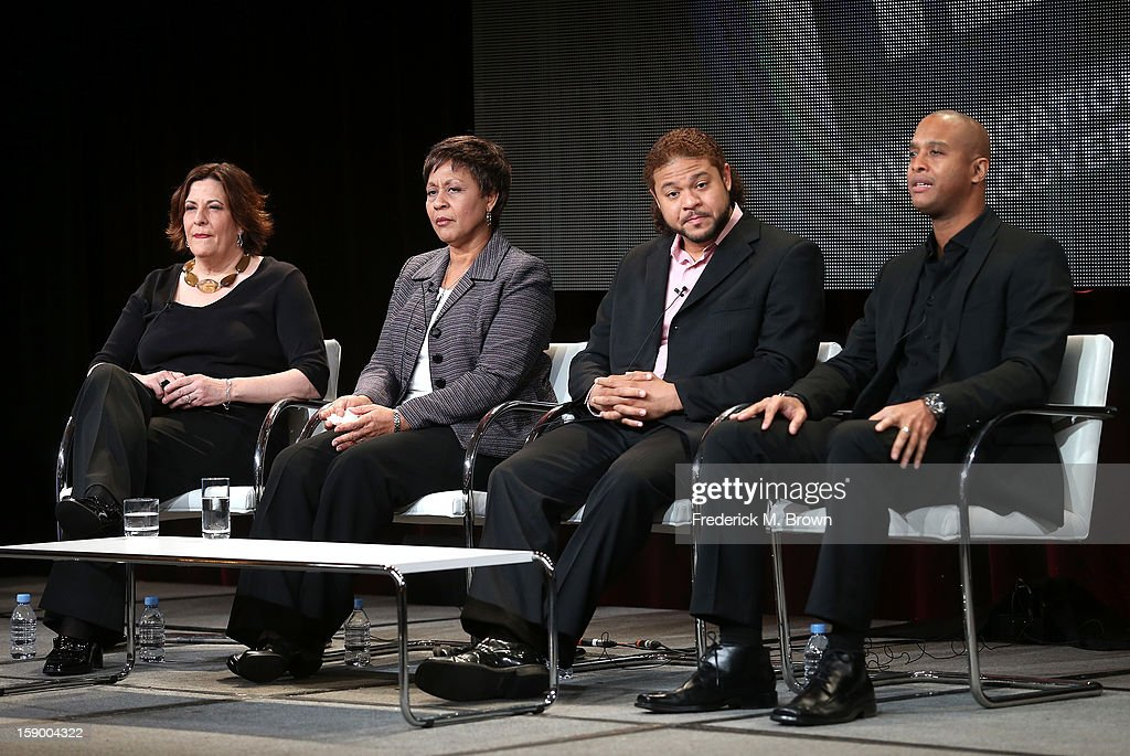 Sara Kozak, SVP Production, Carolyn McKinstry, Civil Rights Movement Survivor, March To Justice, Robbie Tolan, Victim of Racial Profiling, The Injustice Files, and Keith Beauchamp, Filmmaker,The Injustice Files speak onstage at the 'The Injustice Files and ID Films: March to Justice' panel discussion during the Investigation Discovery portion of the 2013 Winter TCA Tour- Day 2 at Langham Hotel on January 5, 2013 in Pasadena, California.