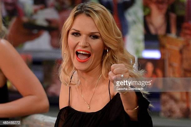 Sara Kulka reacts during the final of the television show 'Ich bin ein Star lasst mich wieder rein' on August 8 2015 in Huerth Germany