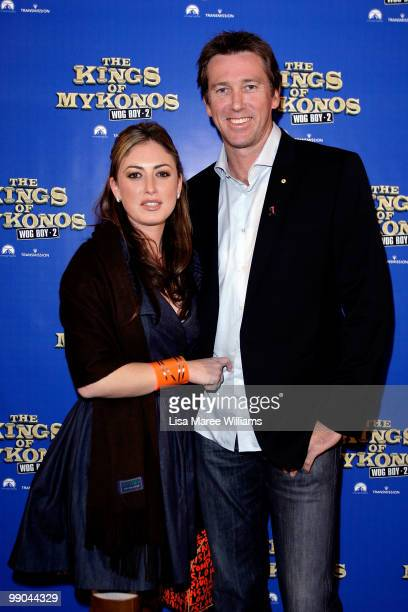 Sara Leonardi and Glen McGrath attend the premiere of 'The Kings of Mykonos Wog Boy 2' at Event Cinemas Bondi Junction on May 12 2010 in Sydney...