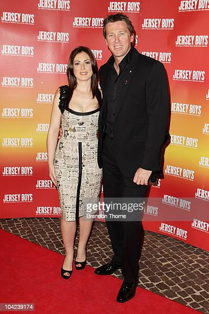 Sara Leonardi and Glenn McGrath arrive at the opening night for 'Jersey Boys The Story of Frankie Valli the Four Seasons' at the Theatre Royal on...
