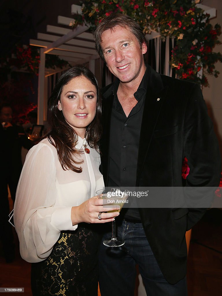Sara Leonardi and <a gi-track='captionPersonalityLinkClicked' href=/galleries/search?phrase=Glenn+McGrath&family=editorial&specificpeople=171418 ng-click='$event.stopPropagation()'>Glenn McGrath</a> pose at the after-party for the David Jones Spring/Summer 2013 Collection Launch at David Jones Elizabeth Street on July 31, 2013 in Sydney, Australia.