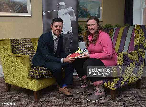 Sara Lockhart who designed Rory McIlroy's Nike golf shoes for the opening round of the Irish Open meets her hero Rory McIlroy at the Slieve Donard...