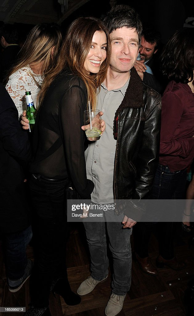 Sara MacDonald (L) and Noel Gallagher attend event planner Paul Rowe's 40th birthday party at The Groucho Club on April 3, 2013 in London, England.