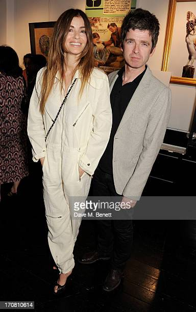 Sara Macdonald and Noel Gallagher attend the Diversity In Care charity auction at Opera Gallery on June 18 2013 in London England