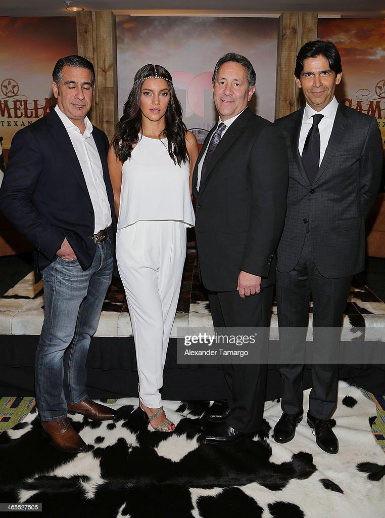 Sara Maldonado poses with Telemundo executives during Telemundo Luncheon to launch 'Camelia Le Texana' during NATPE at Eden Roc Hotel on January 27, 2014 in Miami Beach, Florida.
