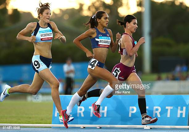 Sara McDermott of New South Wales Zoe BrittoBabapulle of Victoria and Emily Hill of Queensland compete in the Women's 800 Metre u17 event during the...