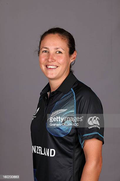 Sara McGlashan of New Zealand poses at a portrait session ahead of the ICC Womens World Cup 2013 at the Taj Mahal Palace Hotel on January 27 2013 in...