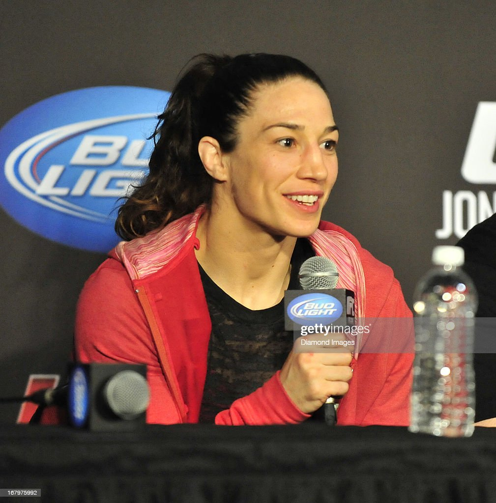 Sara McMann answers questions from the media after UFC 159 Jones v. Sonnen at Prudential Center in Newark, New Jersey.