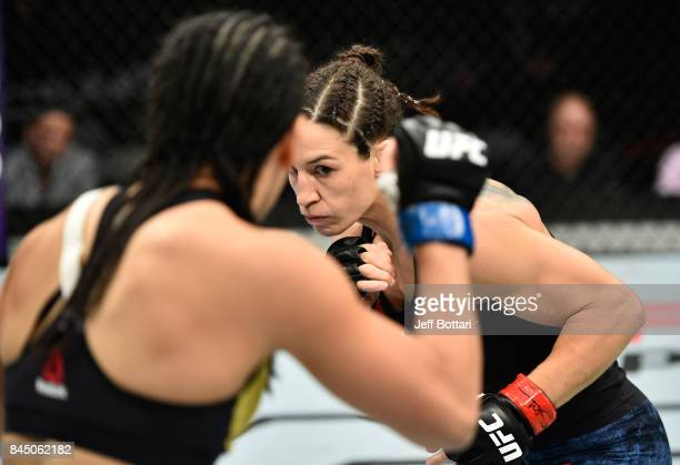 Sara McMann circles Ketlen Vieira of Brazil in their women's bantamweight bout during the UFC 215 event inside the Rogers Place on September 9 2017...