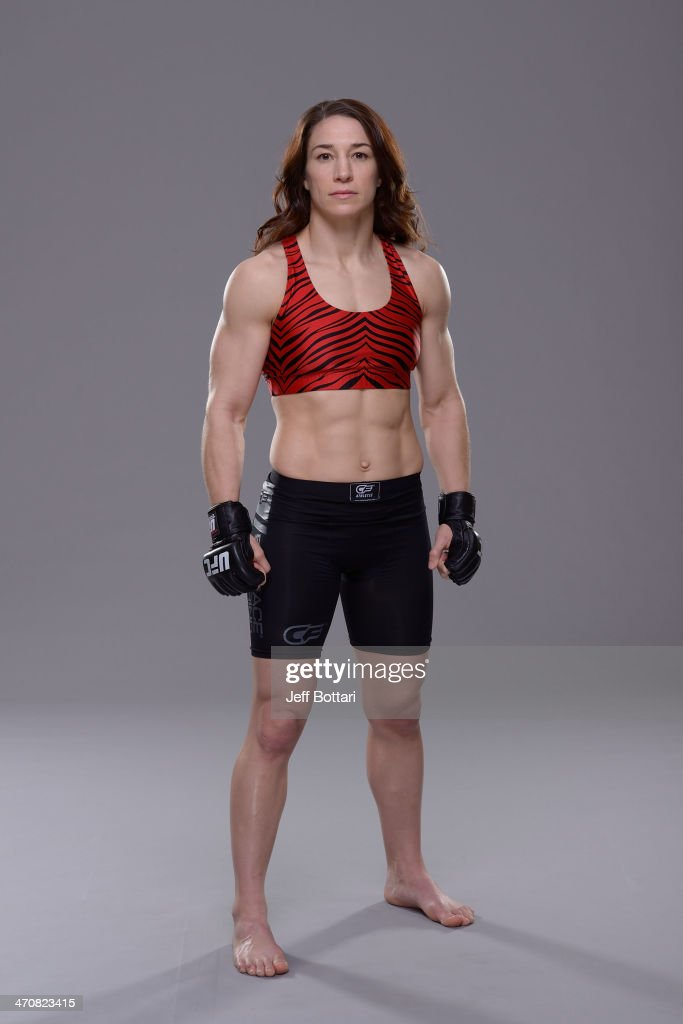 <a gi-track='captionPersonalityLinkClicked' href=/galleries/search?phrase=Sara+McMann&family=editorial&specificpeople=171852 ng-click='$event.stopPropagation()'>Sara McMann</a> poses for a portrait during a UFC photo session on February 19, 2014 in Las Vegas, Nevada.