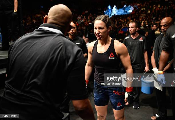 Sara McMann prepares to enter the Octagon before facing Ketlen Vieira of Brazil in their women's bantamweight bout during the UFC 215 event inside...