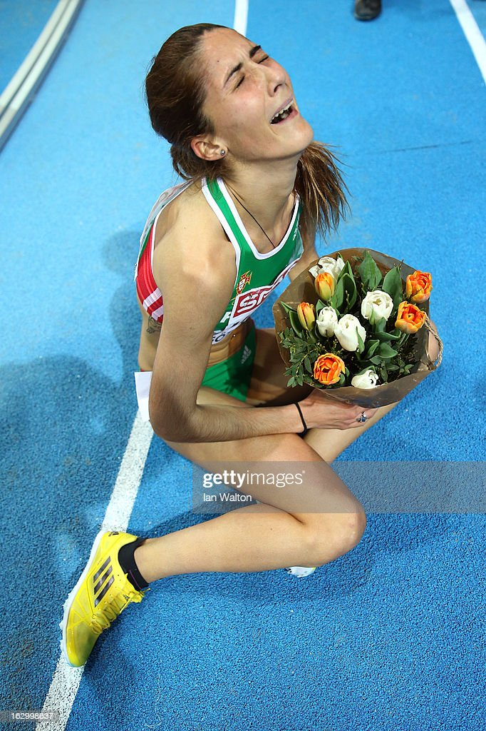 Sara Moreira of Portugal wins gold in the Women's 3000m Final during day three of European Indoor Athletics at Scandinavium on March 3, 2013 in Gothenburg, Sweden.