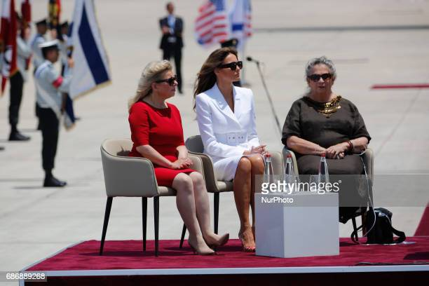 Sara Netanyahu left US First Lady Melania Trump center and Israel's First Lady Nechama Rivlin sit during a welcome ceremony for the US President...