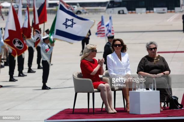 Sara Netanyahu US First Lady Melania Trump and Israel's First Lady Nechama Rivlin sit together during a welcome ceremony in honour of US President...