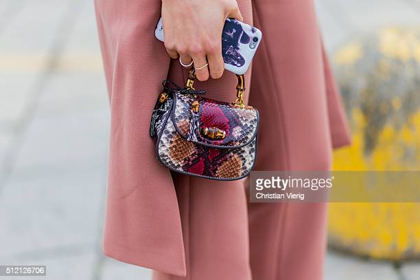 Sara Nicole Rossetto wearing a Gucci bag seen outside Gucci during Milan Fashion Week Fall/Winter 2016/17 on February 24 2016 in Milan Italy