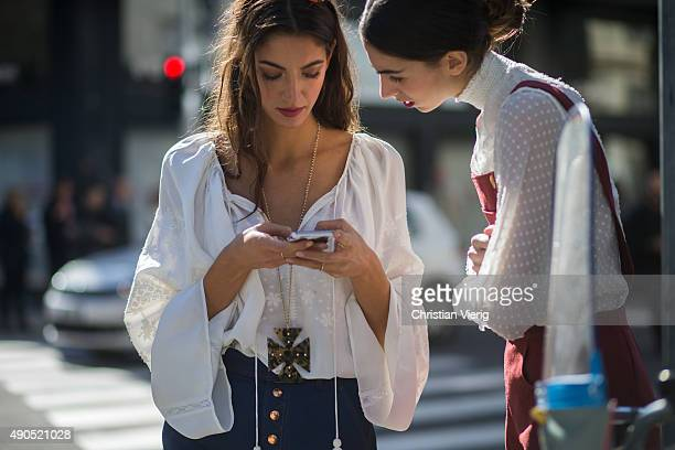 Sara Nicole Rossetto wearing Rag Bone Hermes and Giorgia Rossetto during Milan Fashion Week Spring/Summer 16 on September 24 2015 in Milan Italy