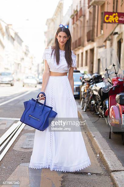 Sara Nicole Rossetto wears a Charo Ruiz Ibiza dress and Celine bag during Milan Men's Fashion Week Spring/Summer 2016 on June 20 2015 in Milan Italy