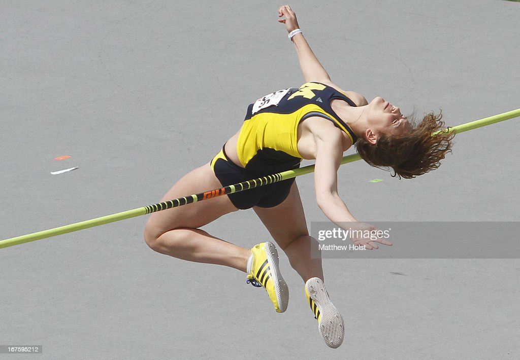 Sara Nitz of the Michigan Wolverines competes in the Women's high jump at the Drake Relays, on April 26, 2013 at Drake Stadium, in Des Moines, Iowa.