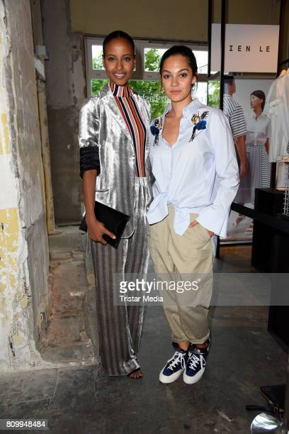 Sara Nuru and Nilam Farooq attend the Dorothee Schumacher Show during the MercedesBenz Fashion Week Berlin Spring/Summer 2018 at Kaufhaus Jandorf on...