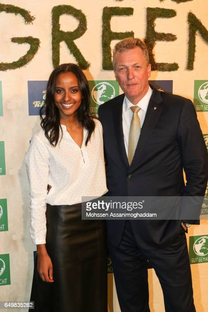Sara Nuru and Thomas Linemayr attend the Green Carpet Event of Tchibo on March 8 2017 in Hamburg Germany