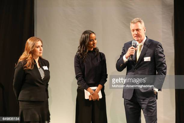 Sara Nuru Thomas Linemayr and guest attend the Green Carpet Event of Tchibo on March 8 2017 in Hamburg Germany