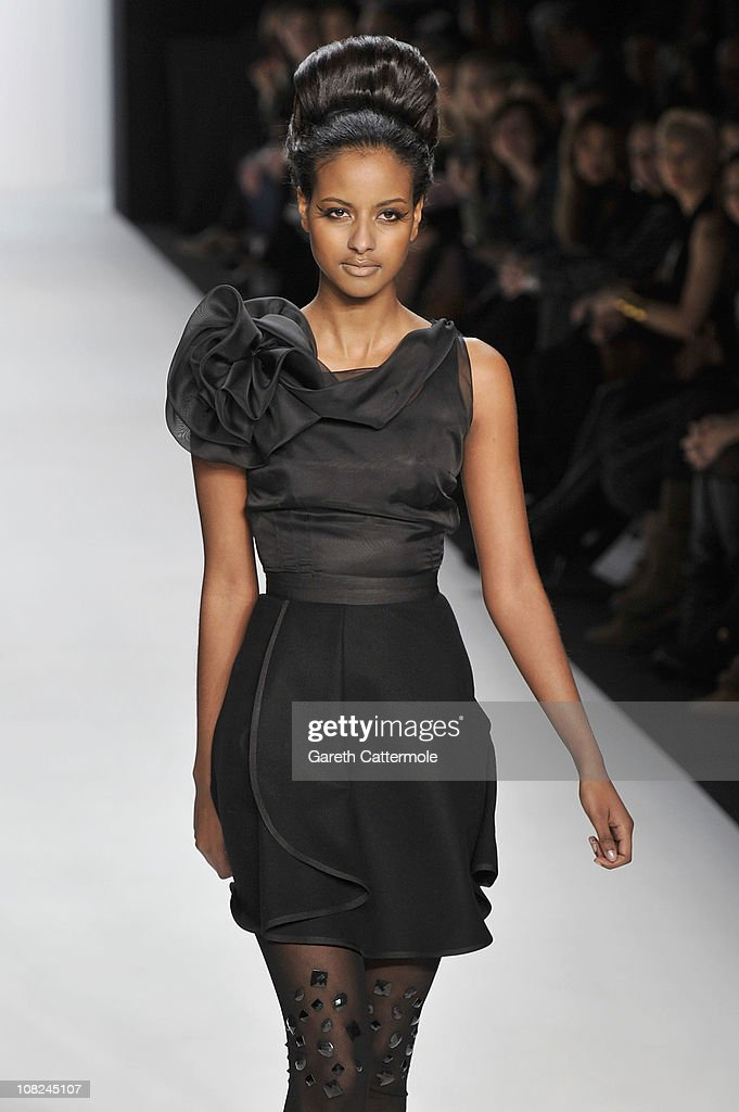 Sara Nuru walks the runway at the Stephan Pelger Show during the Mercedes Benz Fashion Week Autumn/Winter 2011 at Bebelplatz on January 22, 2011 in Berlin, Germany.