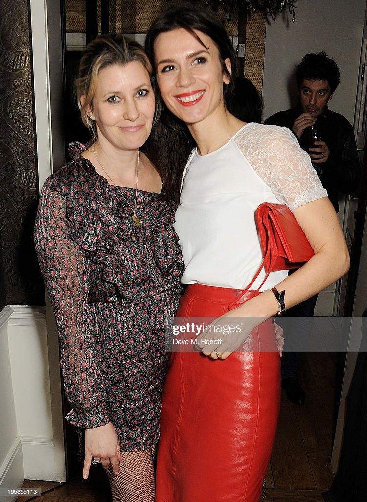 Sara Parker Bowles (L) and Lara Bohinc attend event planner Paul Rowe's 40th birthday party at The Groucho Club on April 3, 2013 in London, England.