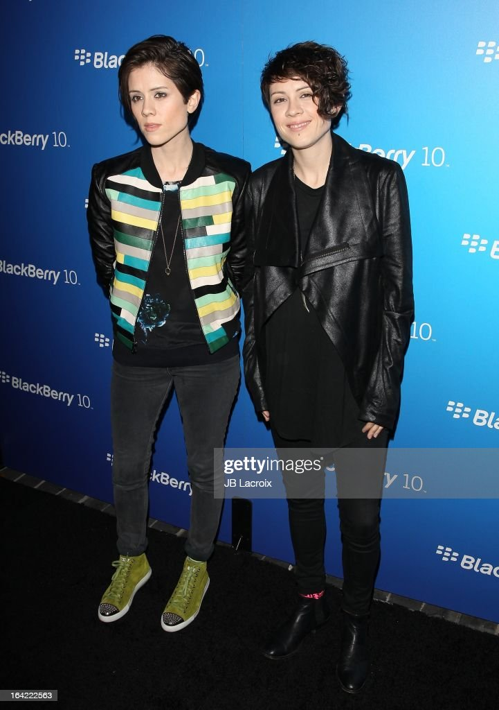 Sara Quin and Tegan Quin attend the BlackBerry Z10 Smartphone launch party held at at Cecconi's Restaurant on March 20, 2013 in Los Angeles, California.