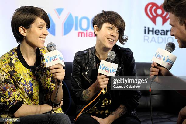 Sara Quin and Tegan Quin of Tegan and Sara attend Y100's Jingle Ball 2013 Presented by Jam Audio Collection at BBT Center on December 20 2013 in...