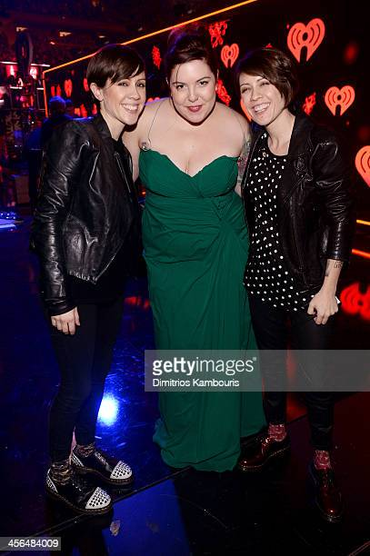 Sara Quin Mary Lambert and Tegan Quin pose backstage at Z100's Jingle Ball 2013 presented by Aeropostale at Madison Square Garden on December 13 2013...
