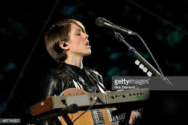 "Sara Quin of Tegan and Sara performs at 933 FLZ's Jingle Ball ""PreShow Free Show"" on the Plaza 933 FLZ's Jingle Ball 2013 official preshow at the..."