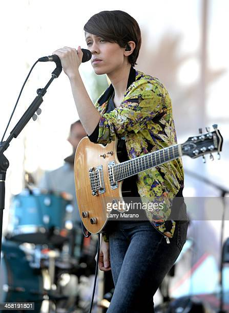 Sara Quin of Tegan and Sara performs at Y100's PreShow at the Jingle Ball Village on the plaza at the BBT Center on December 20 2013 in Miami Florida