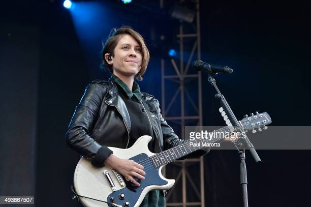 Sara Quin of Tegan Sara perform to a sold out audience at the 2014 Boston Calling Music Festival at Boston City Hall Plaza on May 25 2014 in Boston...
