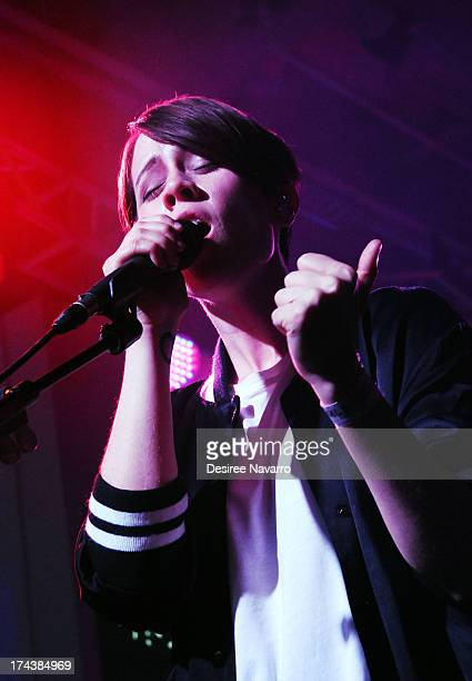 Sara Quin of the band Tegan and Sara performs during the 2013 MLB FanCave Concert Series at MLB Fan Cave on July 24 2013 in New York City
