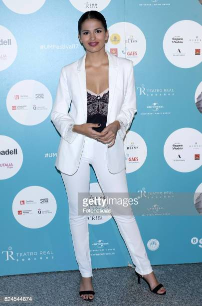 Sara Salamo attends the Luis Fonsi Universal Music Festival concert at The Royal Theater on July 30 2017 in Madrid Spain