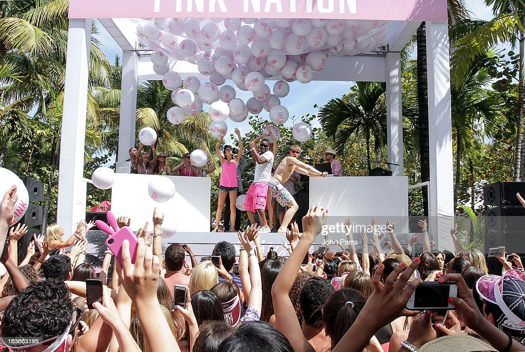 Sara Sampaio, Alexander Ludwig and <a gi-track='captionPersonalityLinkClicked' href=/galleries/search?phrase=Elsa+Hosk&family=editorial&specificpeople=4436101 ng-click='$event.stopPropagation()'>Elsa Hosk</a> attend the Victoria's Secret PINK Ultimate Spring Break Dance Party in Miami at Raleigh Hotel on March 13, 2013 in Miami Beach, Florida.