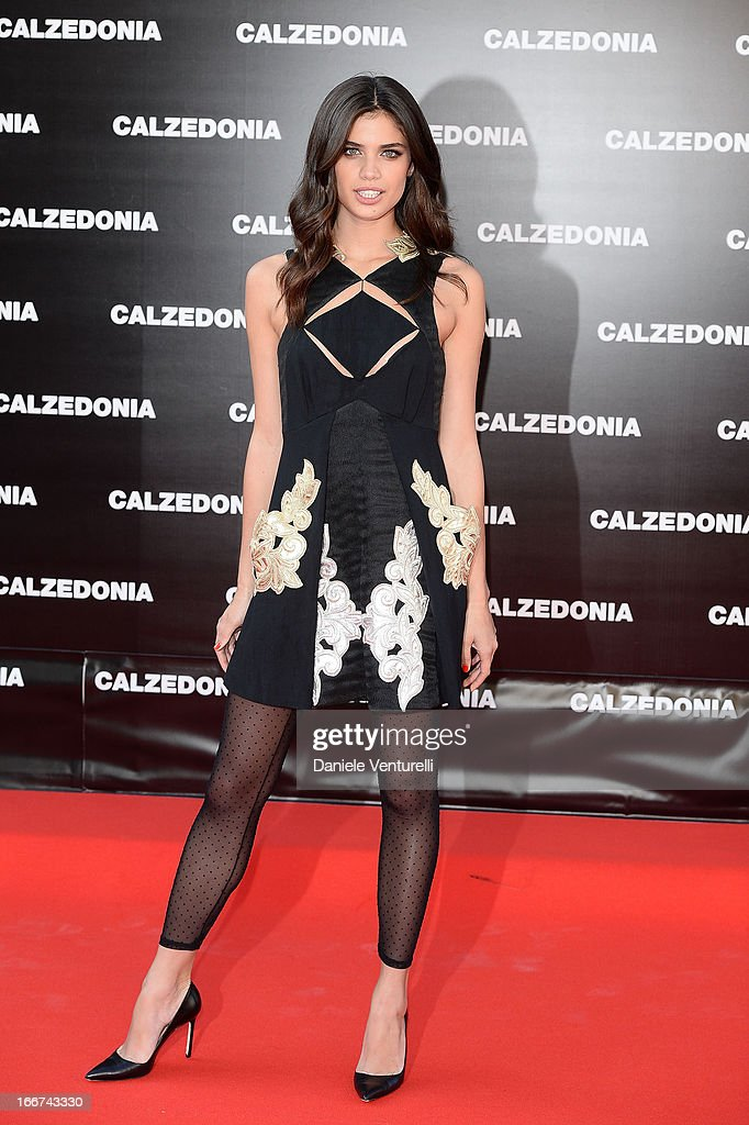 Sara Sampaio arrives at the Calzedonia 'Forever Together' show on April 16, 2013 in Rimini, Italy.