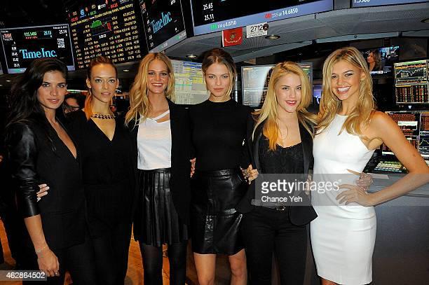 Sara Sampaio Hannah Ferguson Erin Heatherton Hailey Clauson Ashley Smith and Kelly Rohrbach attend Sports Illustrated Swimsuit Models Ring The NYSE...