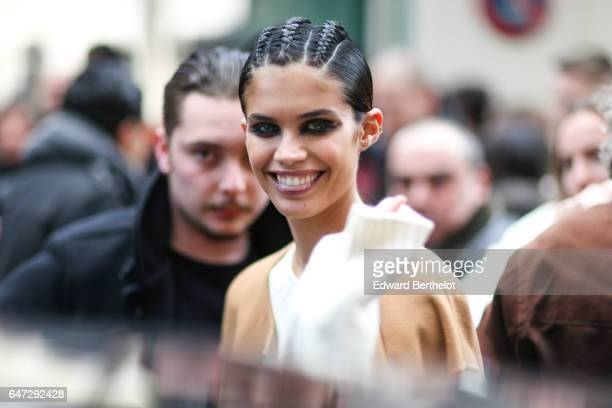 Sara Sampaio is seen outside the Balmain show during Paris Fashion Week Womenswear Fall/Winter 2017/2018 on March 2 2017 in Paris France