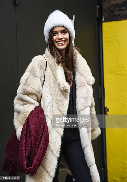 Sara Sampaio is seen outside the Tommy Hilfiger show during New York Fashion Week Women's Fall/Winter 2016 on February 15 2016 in New York City