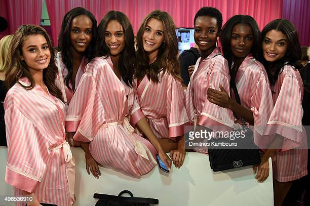 Sara Sampaio Leila Nda Cindy Bruna Taylor Hill Maria Borges Leomie Anderson and Daniela Braga are seen backstage before the 2015 Victoria's Secret...
